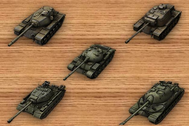 Top to Bottom, Left to Right:  T11oE5, T110E4, T-62A, IS-4, IS-7